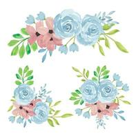 Watercolor hand painted rose flower bouquet collection