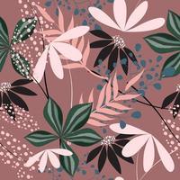 Vintage tropical floral pattern vector