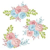 conjunto de ramo de arreglo de rosas de acuarela vector