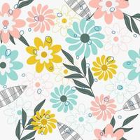 Cute  hand drawn little flower pattern vector