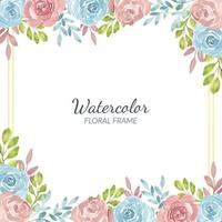 borde de flor rosa rústica acuarela y marco dorado vector