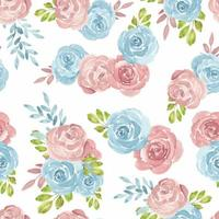 Blue pink watercolor seamless pattern wwith roses vector
