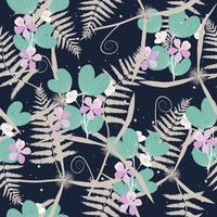 Tropical floral pattern on dark blue vector
