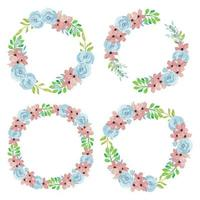 Watercolor hand painted rose floral wreath collection vector