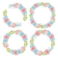 Pink and blue floral wreath watercolor set vector