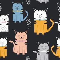 Cute colorful cartoon cat pattern vector