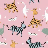 Cute funny animal cartoon pattern vector