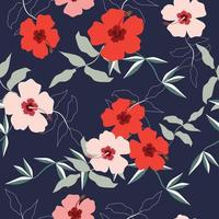 Colorful hibiscus flower pattern vector