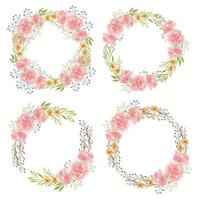 Watercolor hand painted of carnation flower circle frames vector