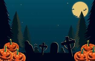 Halloween Night On Graveyard Background vector
