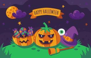 Happy Halloween Night Pumpkins vector