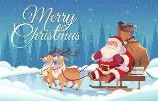 Merry Christmas Design with Santa Claus on Sleigh