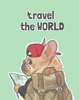 viajar por el mundo lema con perro y mochila vector