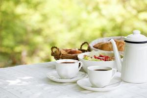 Breakfast in the summer resort photo