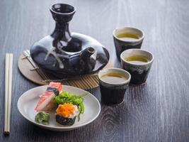 tea set and sushi