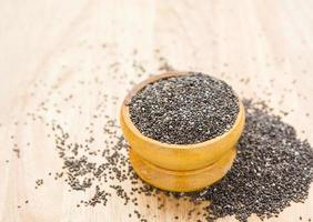 chia seeds in wooden cup
