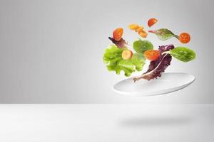 light salad with floating vegetables