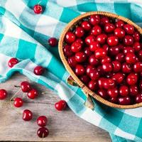 Closeup of basket with fresh cherries on wooden backround photo