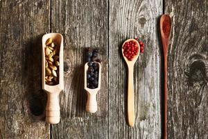 Spices over wooden background photo