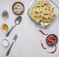 cooking concept ready-made pasta turkey cream sauce  top view