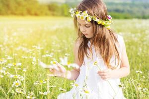 Cute child girl is playing with chamomile flowers