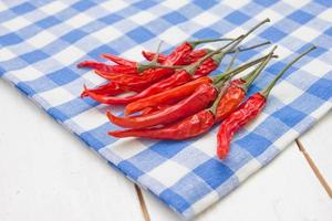 Red hot peppers on plaid napkin