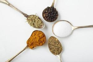 Spices and herbs in silver spoons photo