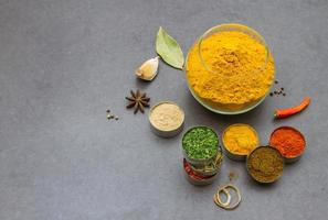 Spices and herbs selection background.