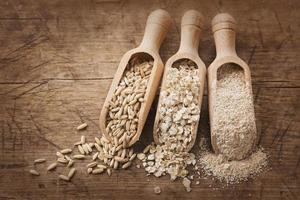 Oat flakes, seeds and bran photo