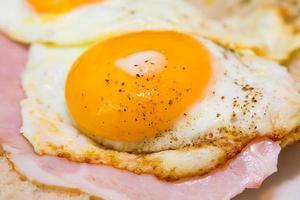 Tasty egg with ham photo
