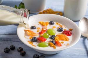 Pouring milk on cornflakes with fruits photo