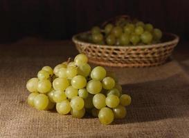 Cluster of grapes on sackcloth