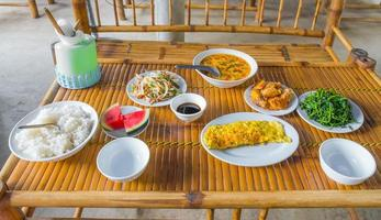 Healthy food on wooden table photo