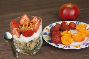 Healthy breakfast with fruit.