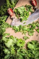 Fresh  kale chopping with old mincing knife