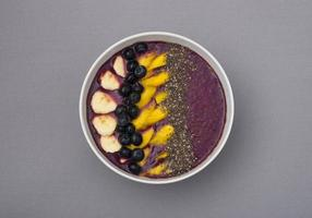 acai smoothie bowl with mango, chia seeds, blueberries and bananas photo