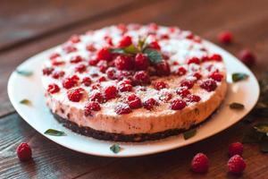 Beautiful vegan cake with raspberry