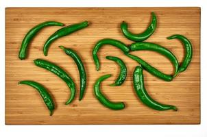 Hot pepper on wooden cutting board