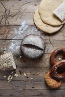 Fresh retro vintage bread on the wooden photo
