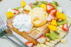 Honey toast with fruit photo