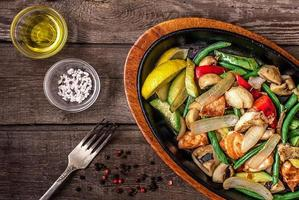 Stew chicken with vegetables and mushrooms photo