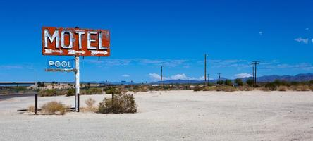 Vintage neon motel sign in the desert