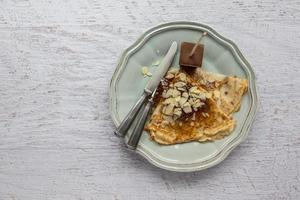 Food background of pancake in plate photo