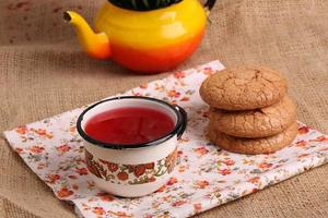 compote juice with almond biscuits photo