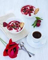 Cottage cheese with strawberries and coffee
