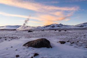 Snowy landscape in the altiplano of Bolivia photo