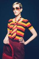 Elegant woman in trendy summer fashion photo