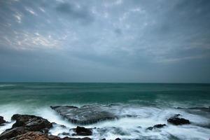 Ocean waterfalls, large waves photo