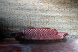 red  sofa  in vintage room