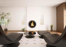 interior moderno da sala de estar com lareira 3d render